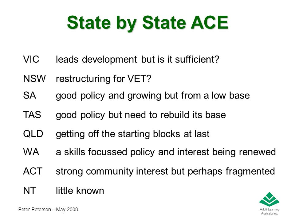 Peter Peterson – May 2008 State by State ACE VICleads development but is it sufficient.