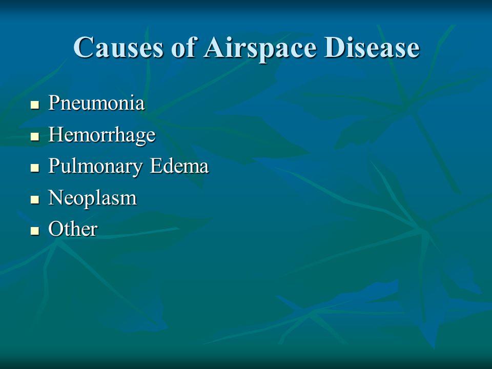 Causes of Airspace Disease Pneumonia Pneumonia Hemorrhage Hemorrhage Pulmonary Edema Pulmonary Edema Neoplasm Neoplasm Other Other