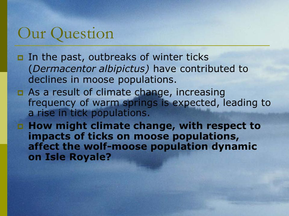 Our Question  In the past, outbreaks of winter ticks (Dermacentor albipictus) have contributed to declines in moose populations.  As a result of cli