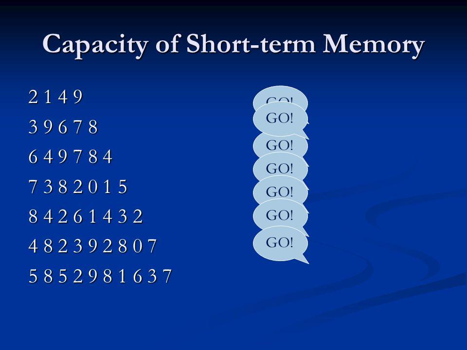 Capacity of Short-term Memory 2 1 4 9 3 9 6 7 8 6 4 9 7 8 4 7 3 8 2 0 1 5 8 4 2 6 1 4 3 2 4 8 2 3 9 2 8 0 7 5 8 5 2 9 8 1 6 3 7 GO!