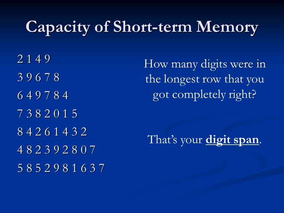 Capacity of Short-term Memory 2 1 4 9 3 9 6 7 8 6 4 9 7 8 4 7 3 8 2 0 1 5 8 4 2 6 1 4 3 2 4 8 2 3 9 2 8 0 7 5 8 5 2 9 8 1 6 3 7 How many digits were in the longest row that you got completely right.