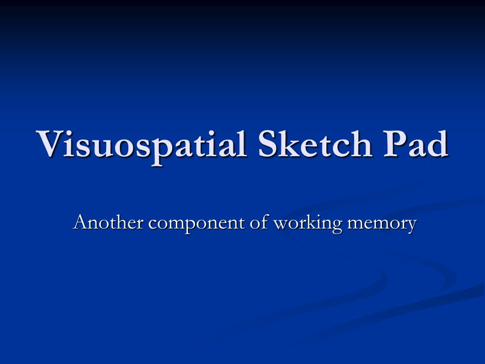 Visuospatial Sketch Pad Another component of working memory