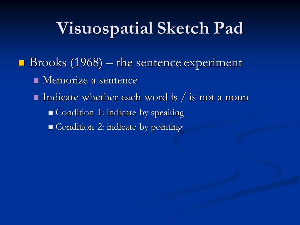 Visuospatial Sketch Pad Brooks (1968) – the sentence experiment Brooks (1968) – the sentence experiment Memorize a sentence Memorize a sentence Indica