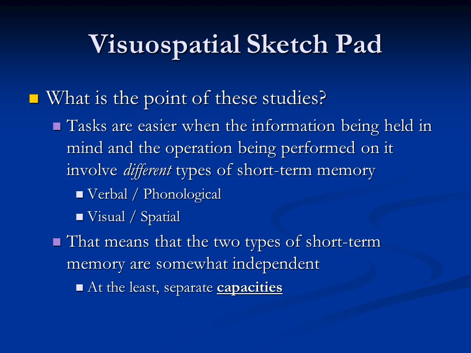 Visuospatial Sketch Pad What is the point of these studies.