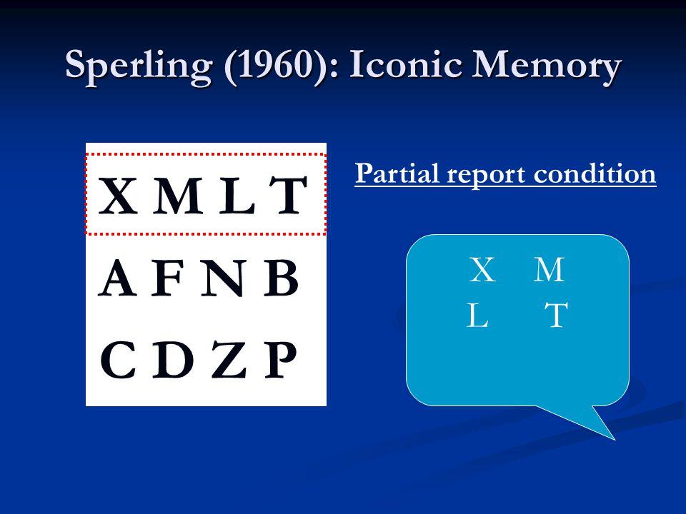 Sperling (1960): Iconic Memory X M L T A F N B C D Z P Partial report condition X M L T