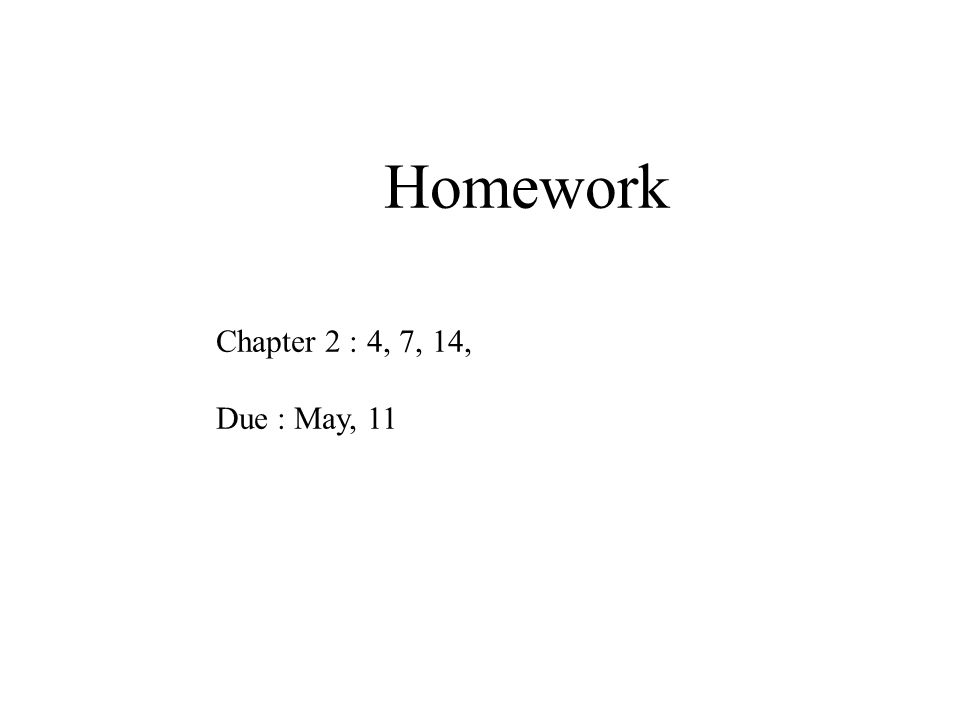 Homework Chapter 2 : 4, 7, 14, Due : May, 11