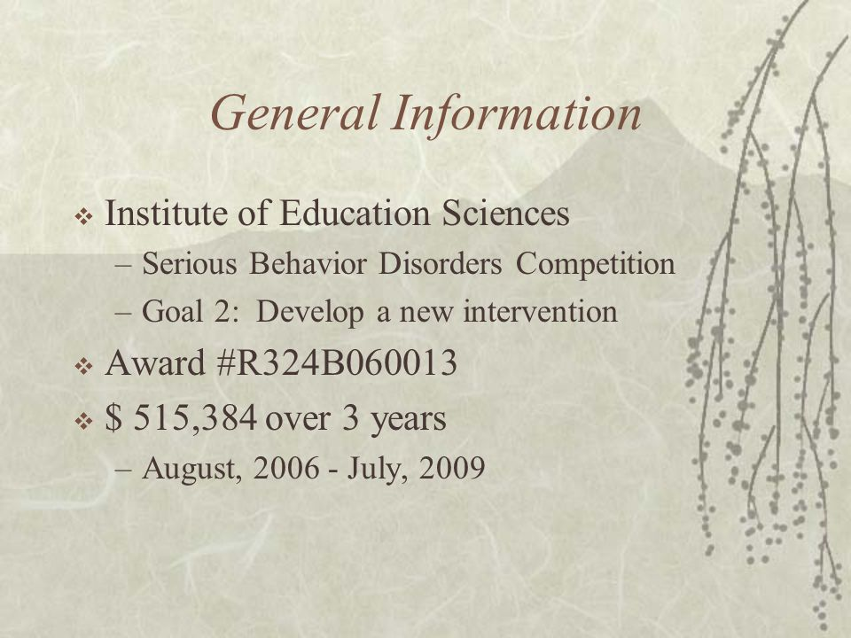 General Information  Institute of Education Sciences –Serious Behavior Disorders Competition –Goal 2: Develop a new intervention  Award #R324B060013  $ 515,384 over 3 years –August, 2006 - July, 2009