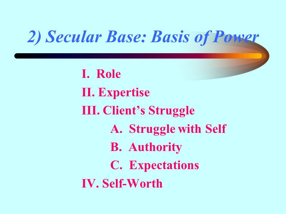 2) Secular Base: Basis of Power I. Role II. Expertise III.