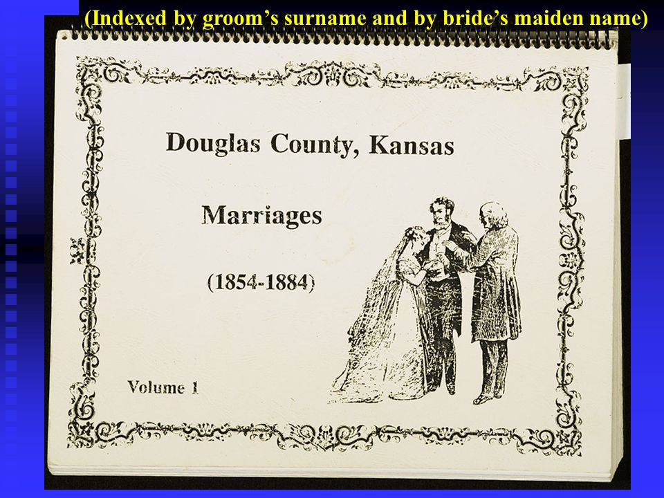 (Indexed by groom's surname and by bride's maiden name)