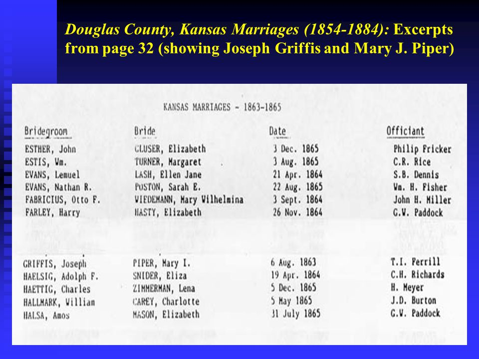 Douglas County, Kansas Marriages (1854-1884): Excerpts from page 32 (showing Joseph Griffis and Mary J.