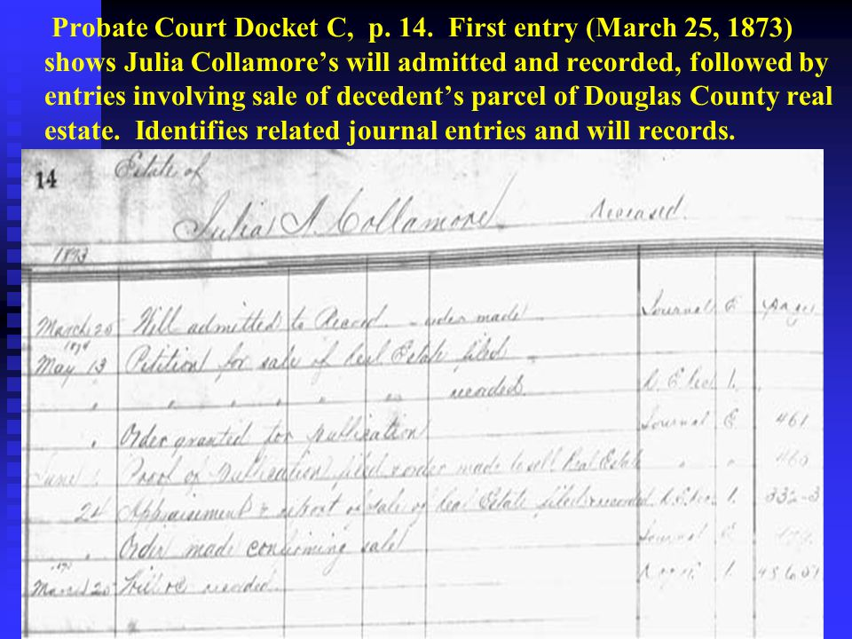 Probate Court Docket C, p. 14. First entry (March 25, 1873) shows Julia Collamore's will admitted and recorded, followed by entries involving sale of