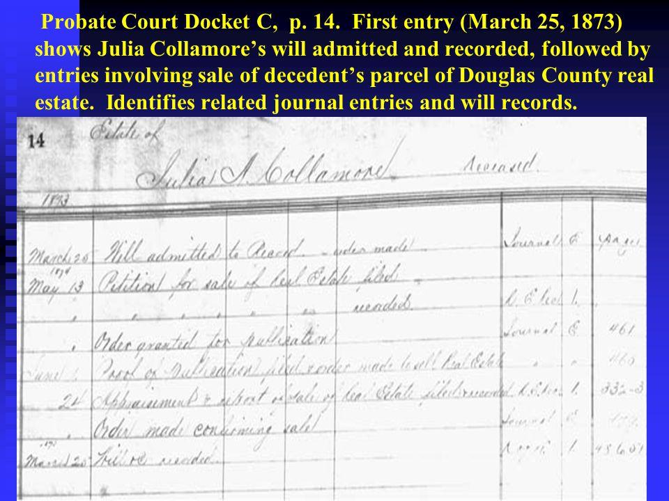 Probate Court Docket C, p. 14.
