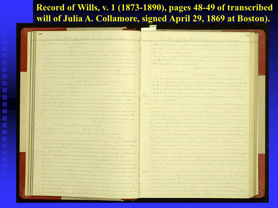 Record of Wills, v. 1 (1873-1890), pages 48-49 of transcribed will of Julia A.