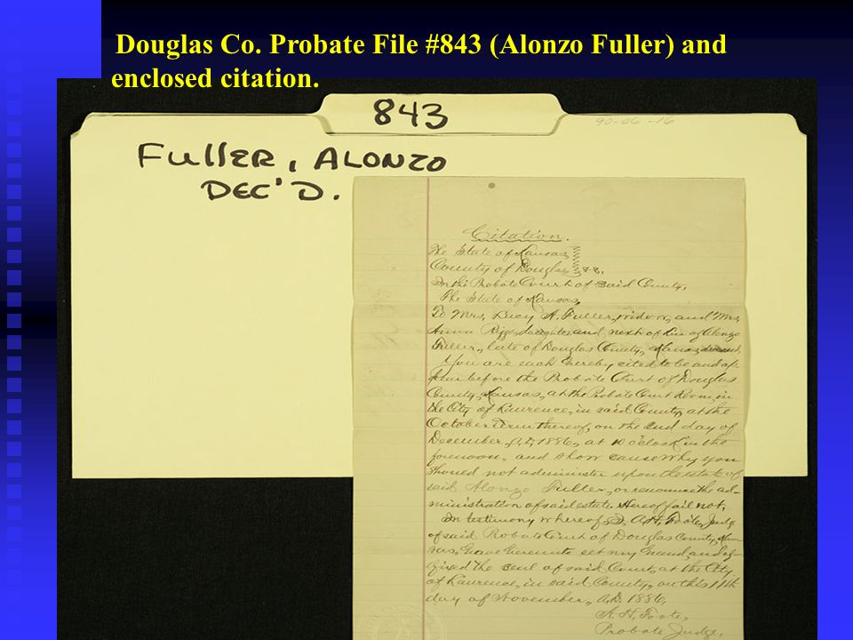 Douglas Co. Probate File #843 (Alonzo Fuller) and enclosed citation.