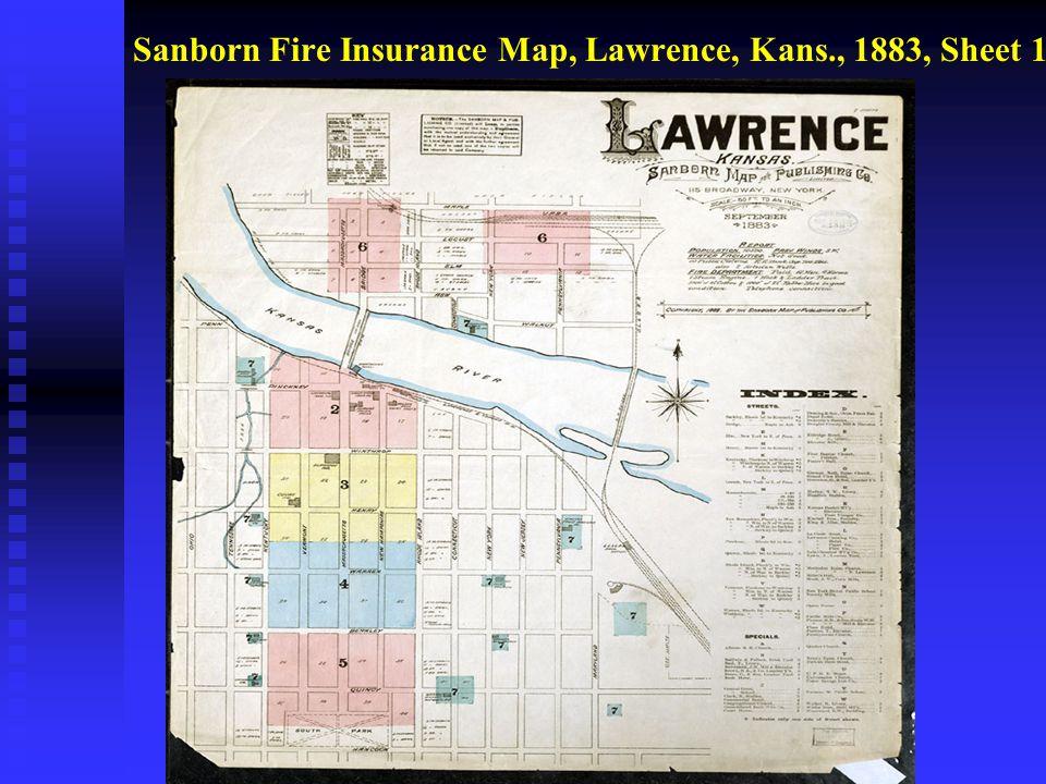 Sanborn Fire Insurance Map, Lawrence, Kans., 1883, Sheet 1