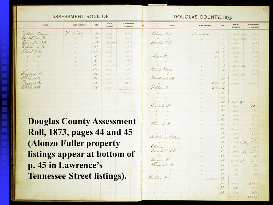Douglas County Assessment Roll, 1873, pages 44 and 45 (Alonzo Fuller property listings appear at bottom of p.