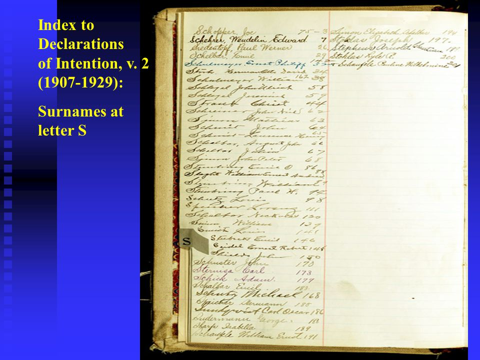 Index to Declarations of Intention, v. 2 (1907-1929): Surnames at letter S