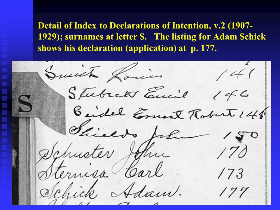 Detail of Index to Declarations of Intention, v.2 (1907- 1929); surnames at letter S.