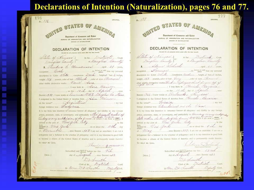 Declarations of Intention (Naturalization), pages 76 and 77.
