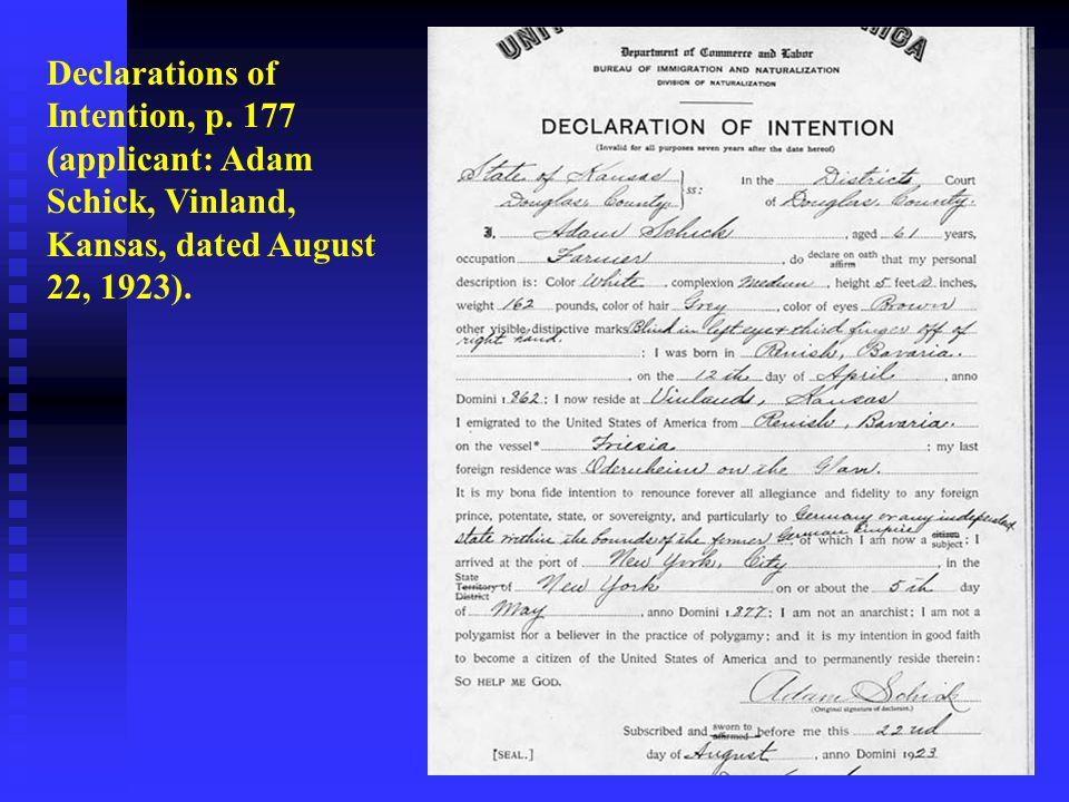 Declarations of Intention, p. 177 (applicant: Adam Schick, Vinland, Kansas, dated August 22, 1923).