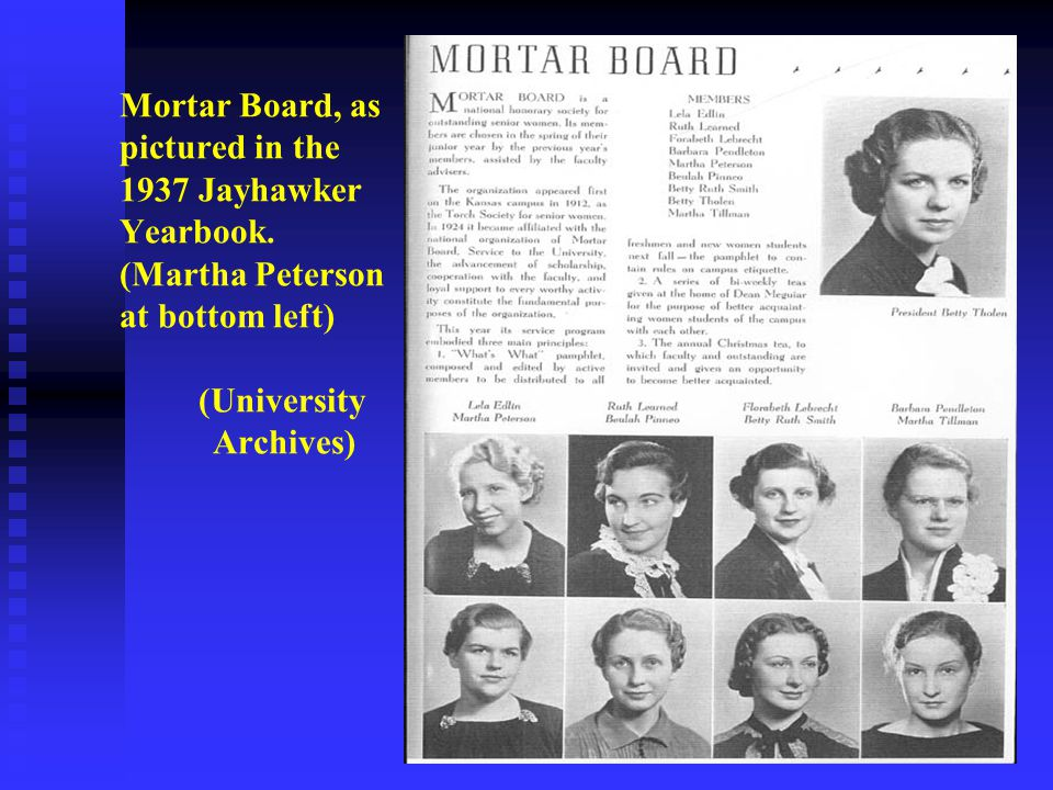 Mortar Board, as pictured in the 1937 Jayhawker Yearbook.