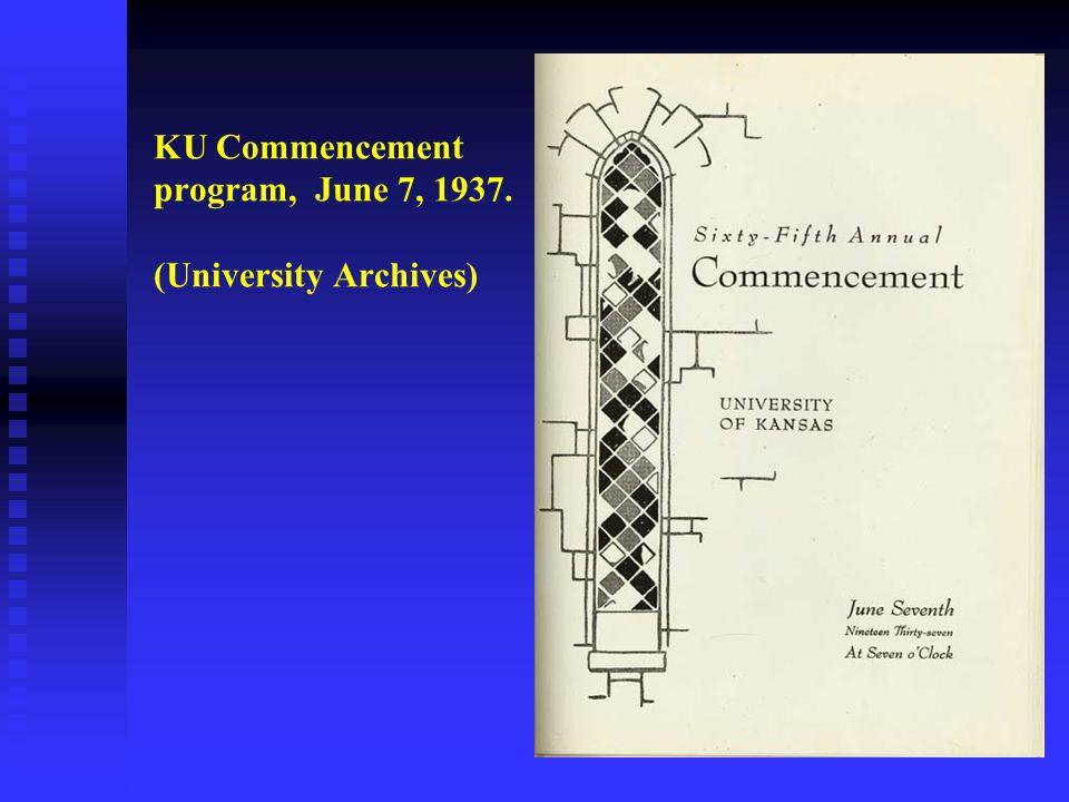 KU Commencement program, June 7, 1937. (University Archives)