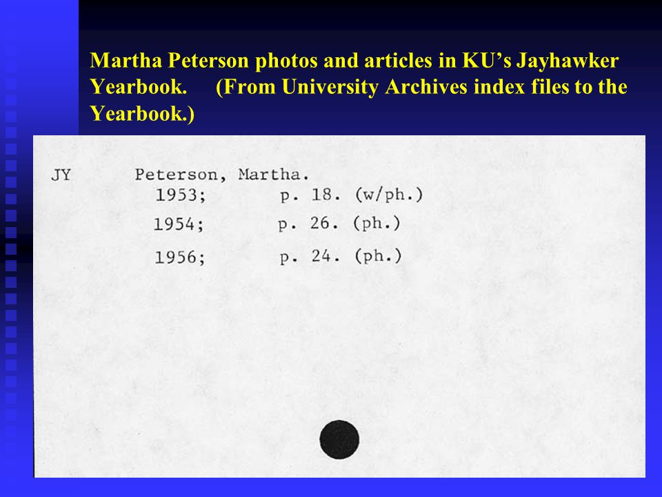Martha Peterson photos and articles in KU's Jayhawker Yearbook.