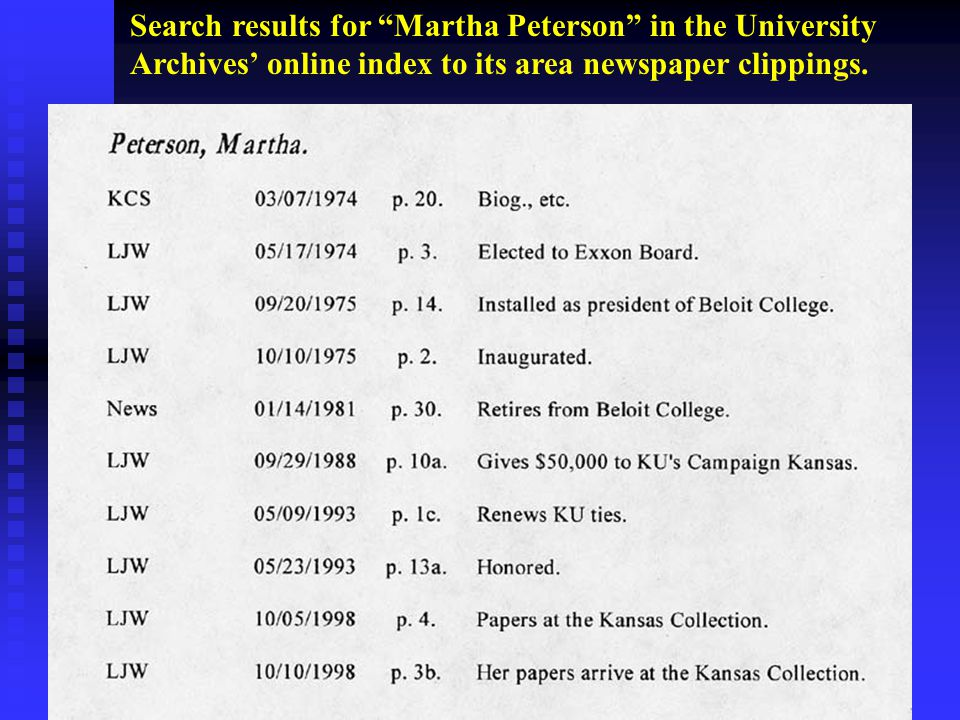 Search results for Martha Peterson in the University Archives' online index to its area newspaper clippings.