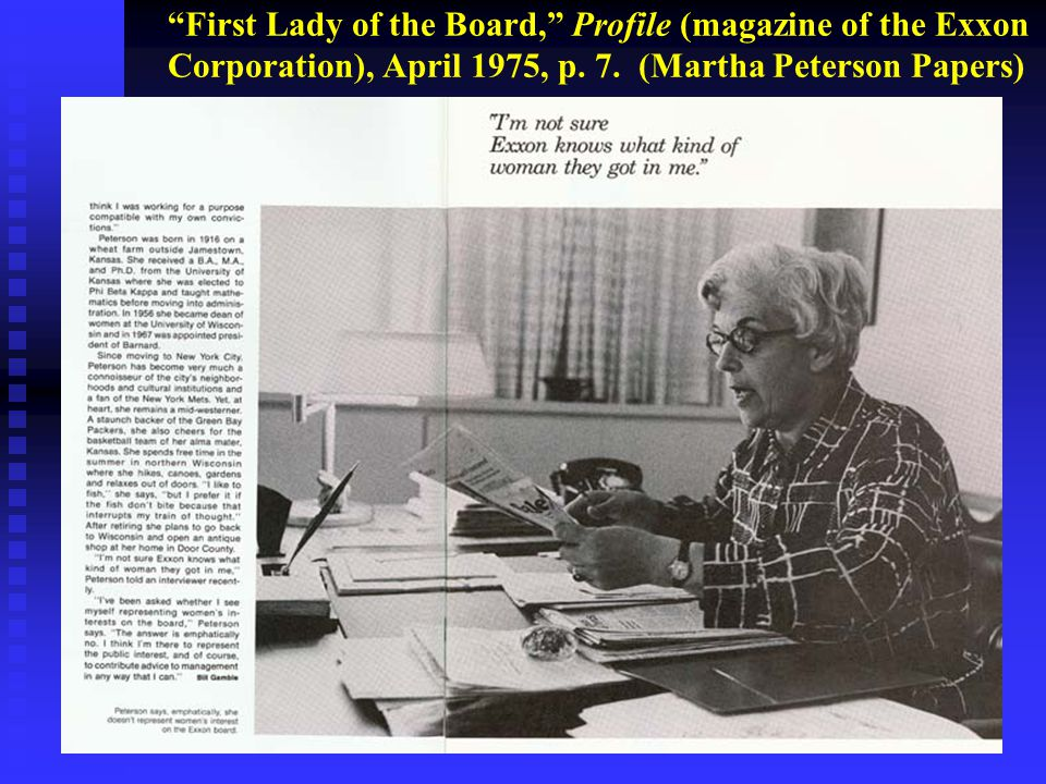 First Lady of the Board, Profile (magazine of the Exxon Corporation), April 1975, p.