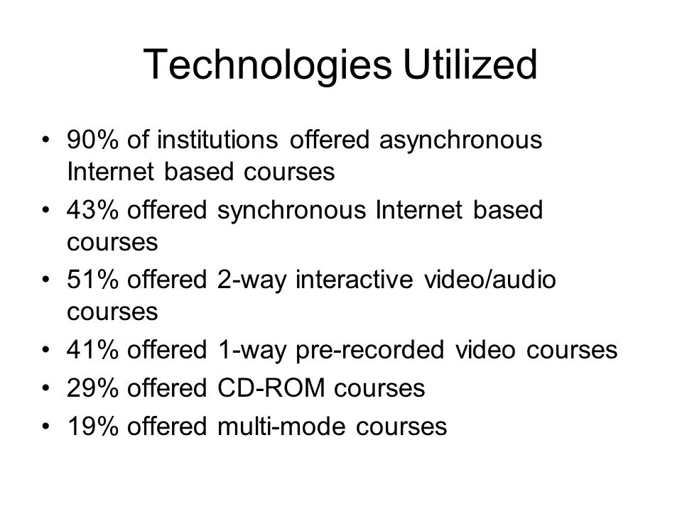 Technologies Utilized 90% of institutions offered asynchronous Internet based courses 43% offered synchronous Internet based courses 51% offered 2-way interactive video/audio courses 41% offered 1-way pre-recorded video courses 29% offered CD-ROM courses 19% offered multi-mode courses