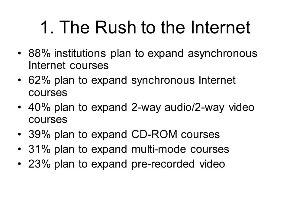 1. The Rush to the Internet 88% institutions plan to expand asynchronous Internet courses 62% plan to expand synchronous Internet courses 40% plan to