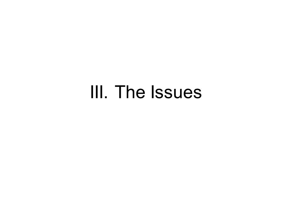 III. The Issues