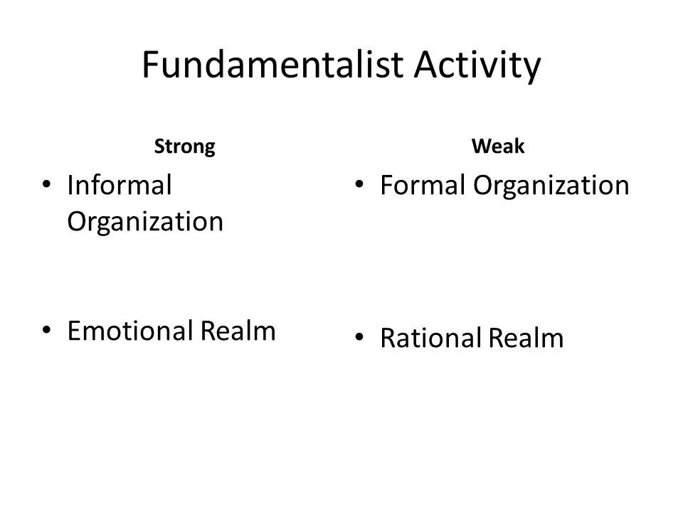 Fundamentalist Activity Strong Informal Organization Emotional Realm Weak Formal Organization Rational Realm