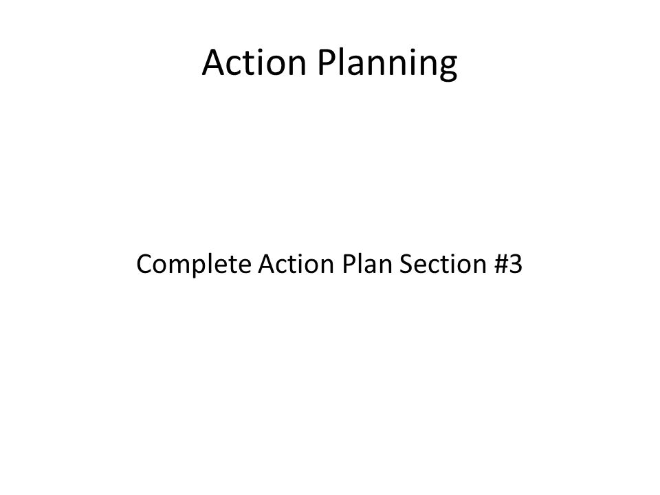 Action Planning Complete Action Plan Section #3