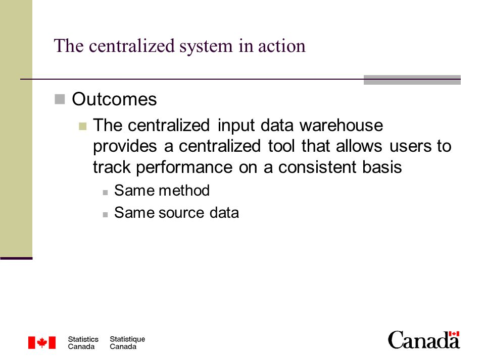 The centralized system in action Outcomes The centralized input data warehouse provides a centralized tool that allows users to track performance on a consistent basis Same method Same source data