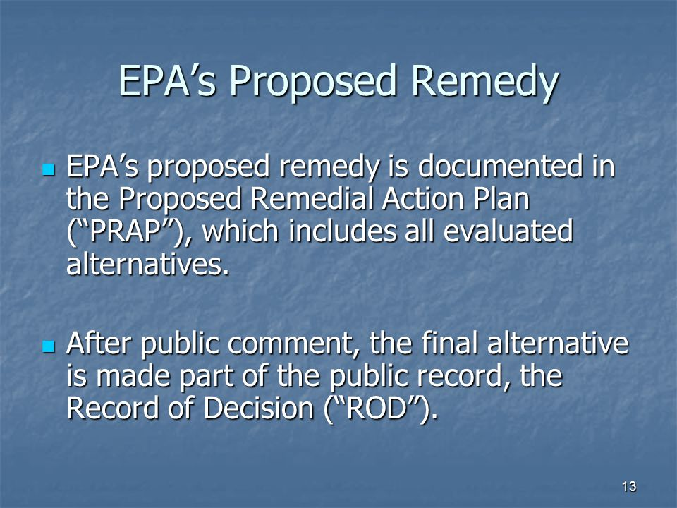 13 EPA's Proposed Remedy EPA's proposed remedy is documented in the Proposed Remedial Action Plan ( PRAP ), which includes all evaluated alternatives.