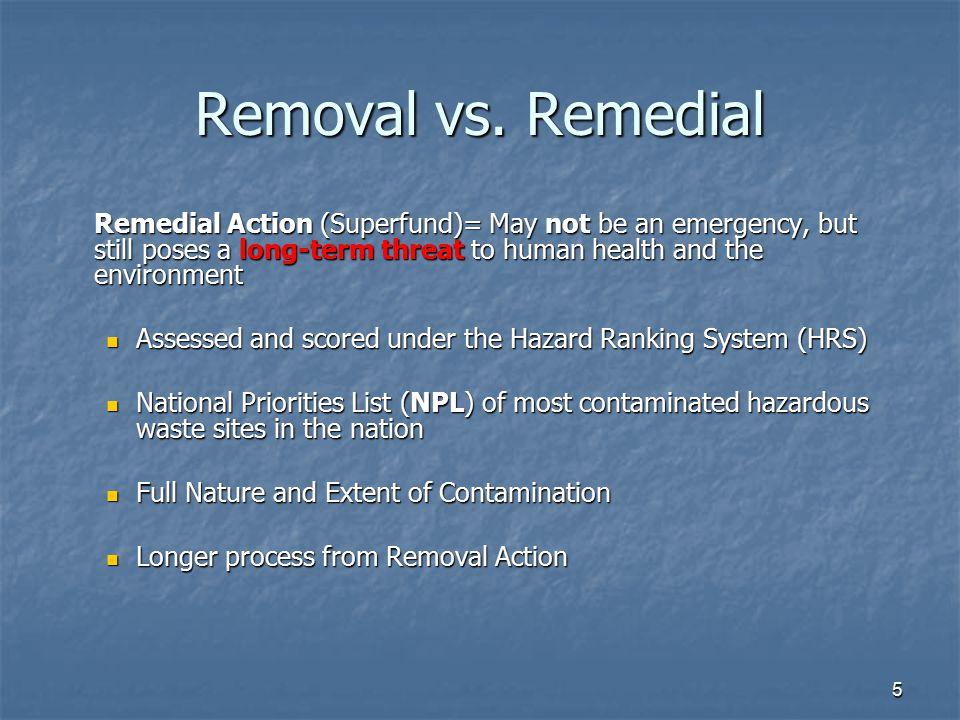 5 Removal vs.