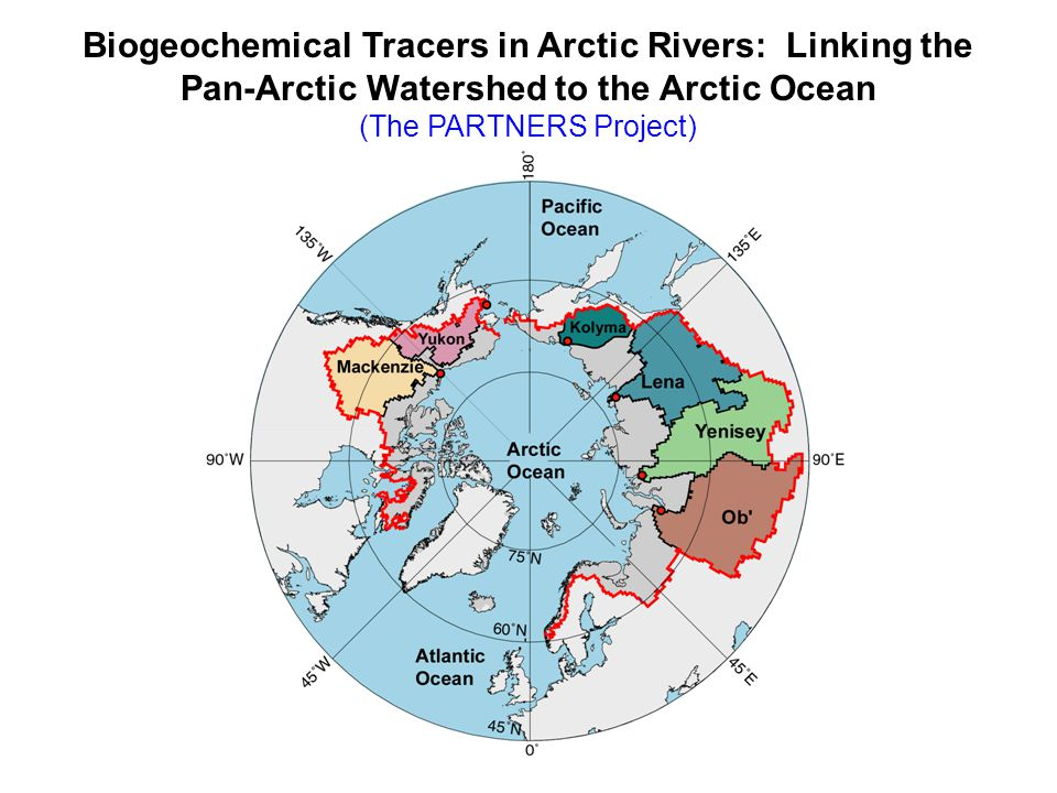 Our overall objective is to use river water chemistry to study the origin and fates of continental runoff in the Arctic