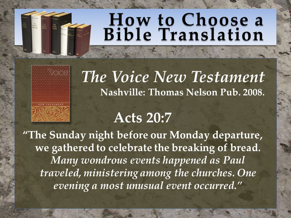 How to Choose a Bible Translation The Voice New Testament Nashville: Thomas Nelson Pub.