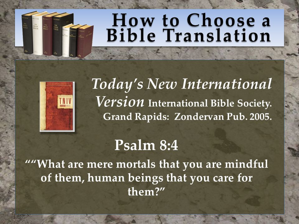 How to Choose a Bible Translation Today's New International Version International Bible Society.
