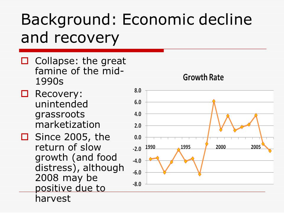 Background: Economic decline and recovery  Collapse: the great famine of the mid- 1990s  Recovery: unintended grassroots marketization  Since 2005, the return of slow growth (and food distress), although 2008 may be positive due to harvest