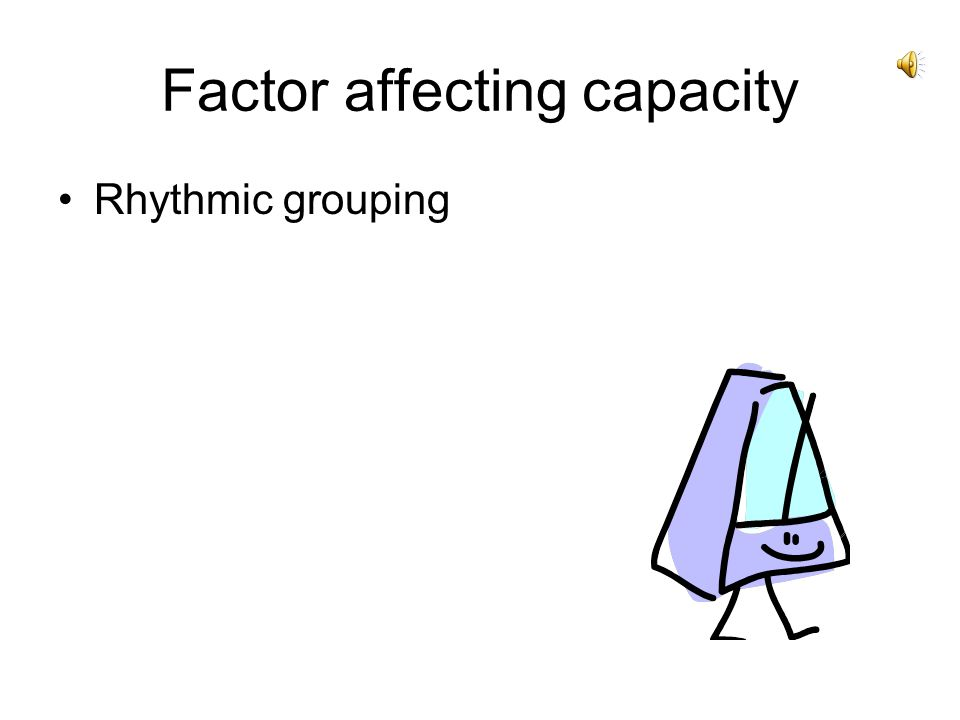 Factor affecting capacity Rhythmic grouping