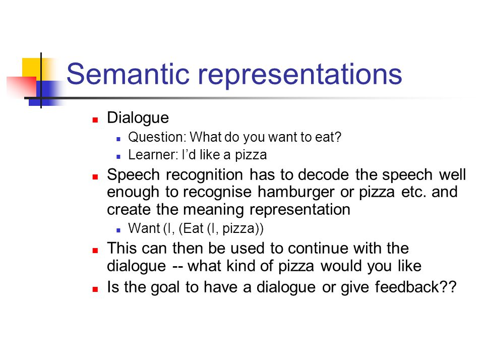 Semantic representations Dialogue Question: What do you want to eat.
