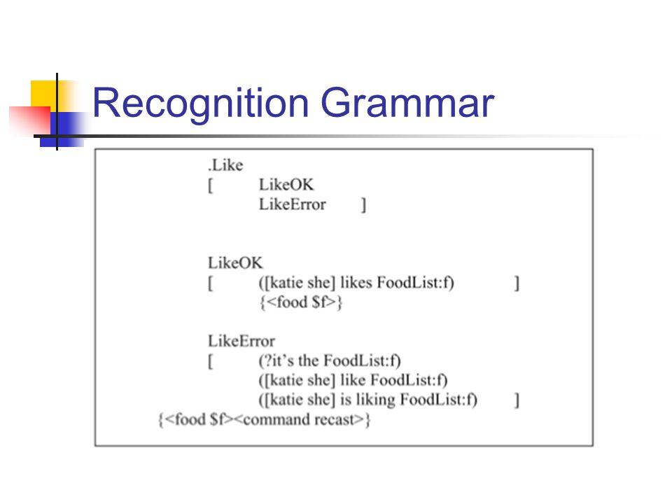 Recognition Grammar