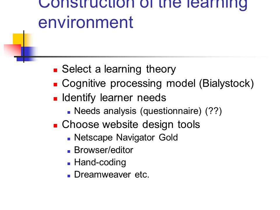 Construction of the learning environment Select a learning theory Cognitive processing model (Bialystock) Identify learner needs Needs analysis (questionnaire) (??) Choose website design tools Netscape Navigator Gold Browser/editor Hand-coding Dreamweaver etc.