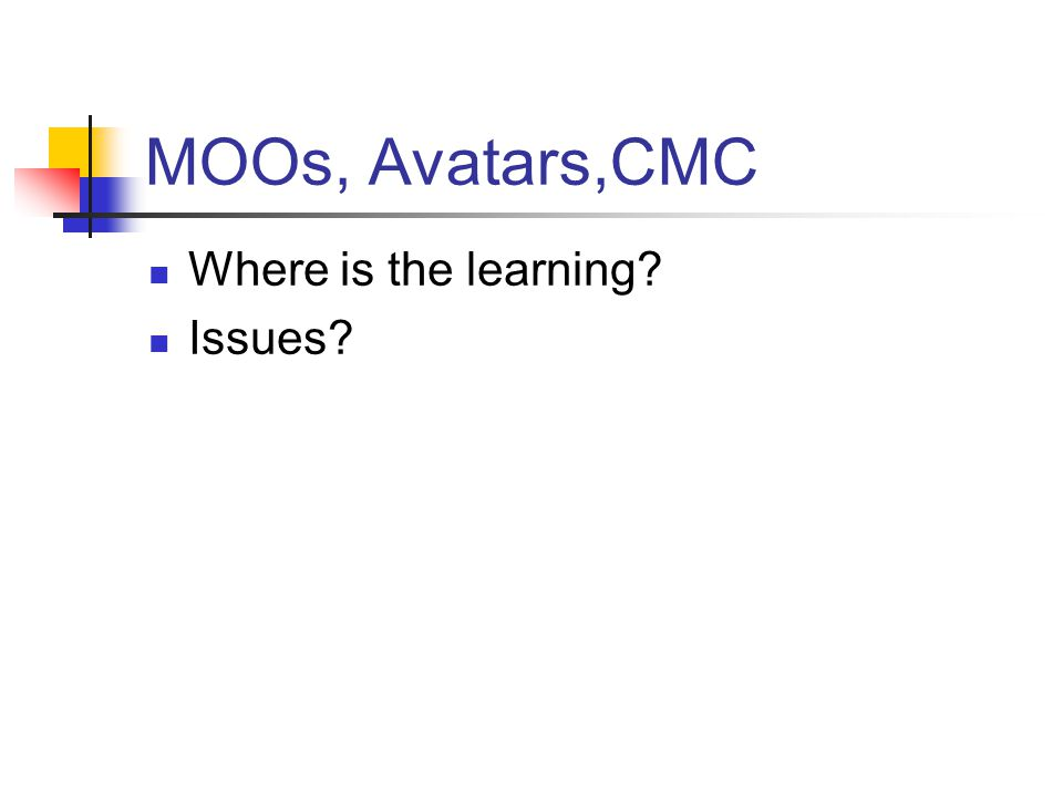 MOOs, Avatars,CMC Where is the learning? Issues?