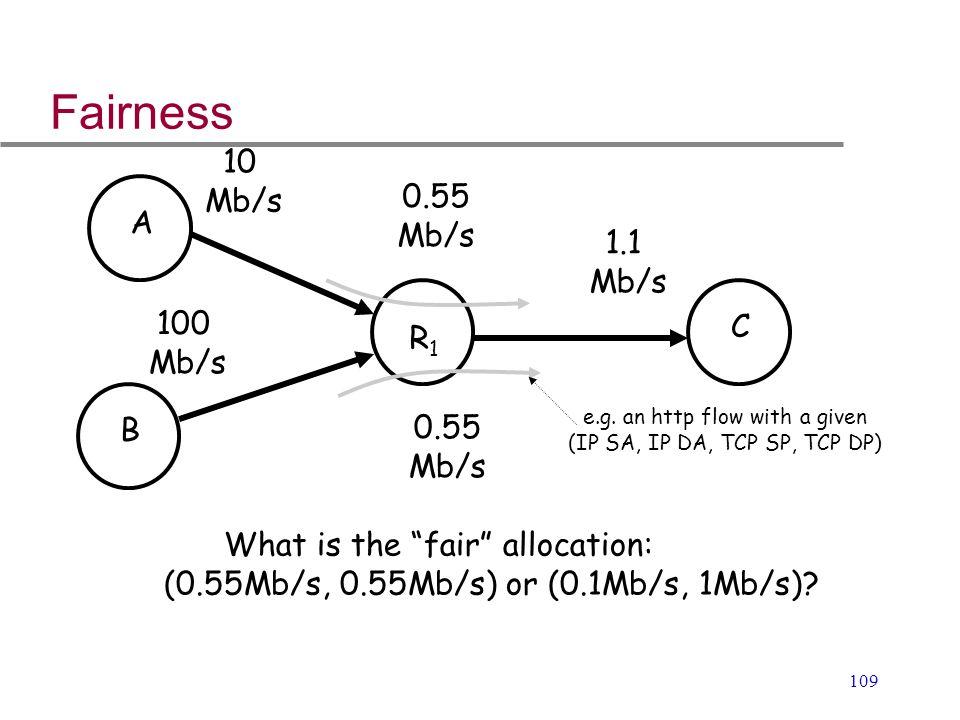 """109 Fairness 1.1 Mb/s 10 Mb/s 100 Mb/s A B R1R1 C 0.55 Mb/s 0.55 Mb/s What is the """"fair"""" allocation: (0.55Mb/s, 0.55Mb/s) or (0.1Mb/s, 1Mb/s)? e.g. an"""
