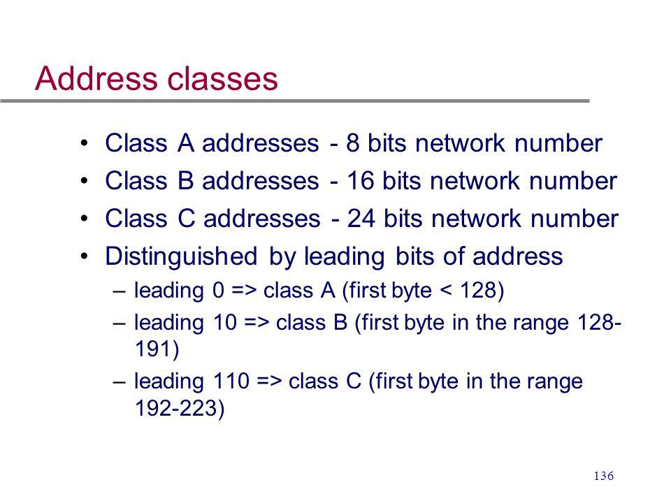 136 Address classes Class A addresses - 8 bits network number Class B addresses - 16 bits network number Class C addresses - 24 bits network number Di