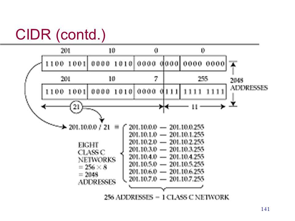 141 CIDR (contd.)