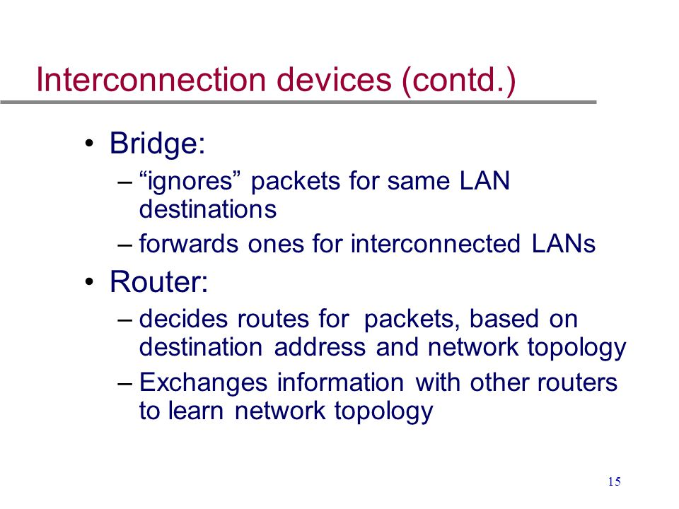 """15 Interconnection devices (contd.) Bridge: –""""ignores"""" packets for same LAN destinations –forwards ones for interconnected LANs Router: –decides route"""